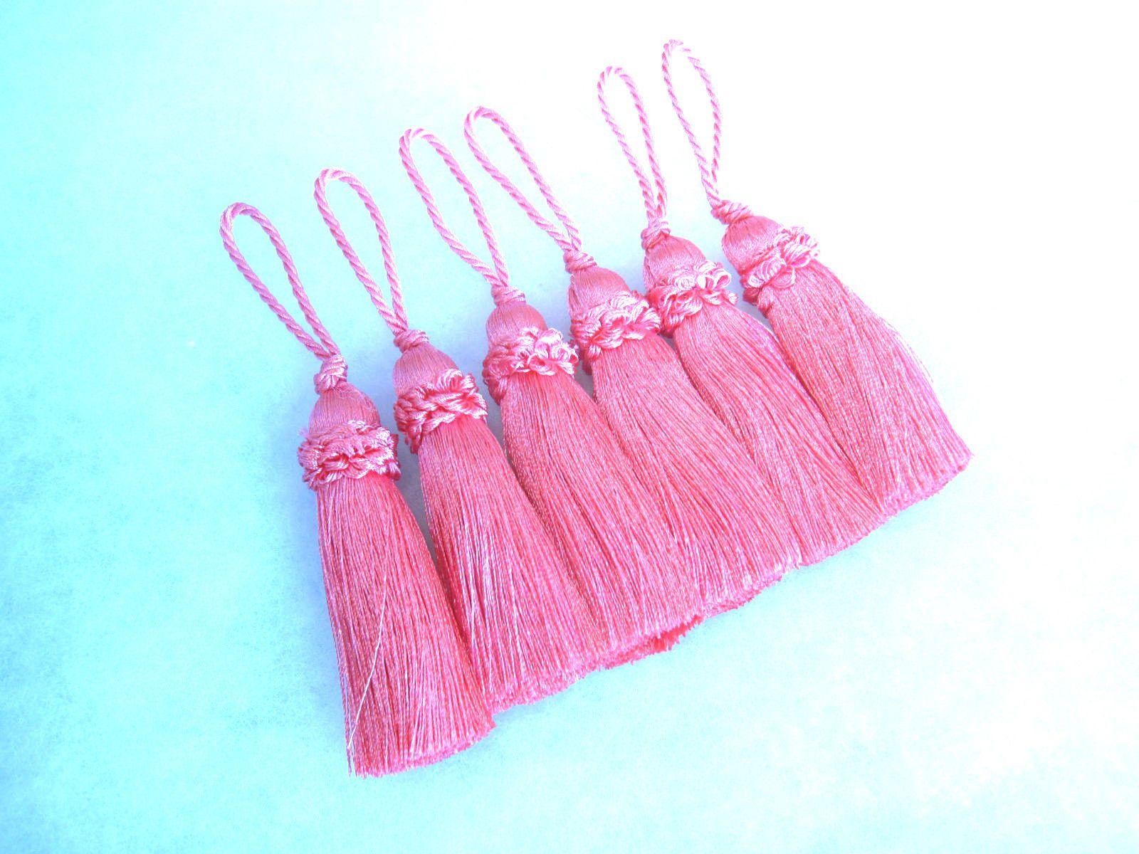 6 Pink Key Tassel 10cm Loop Luxury Blind Cushion Curtain Or Fabric Trim